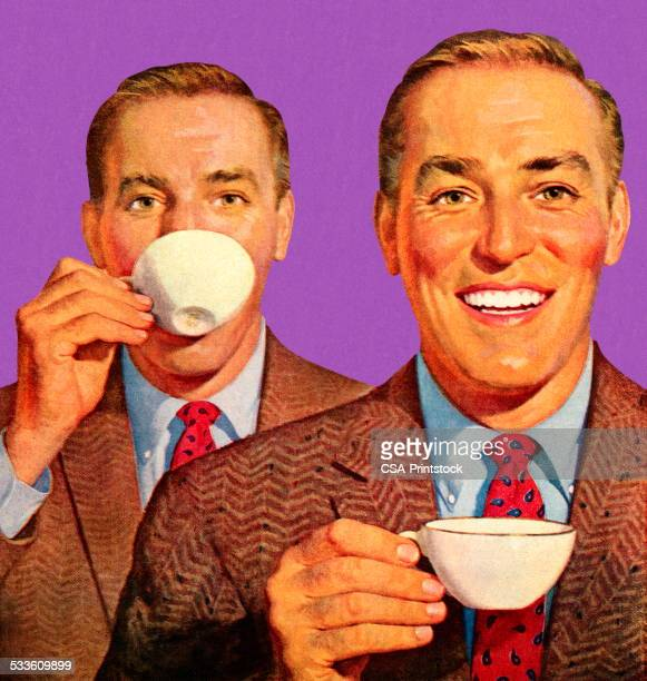 two men drinking coffee - only men stock illustrations
