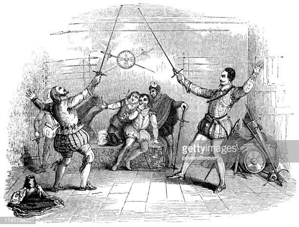 ilustrações de stock, clip art, desenhos animados e ícones de two men fencing in italy - 16th century - luta de espadas