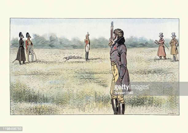 ピストルで決闘を戦う2人の男、フランスの修復、1816年 - 決闘点のイラスト素材/クリップアート素材/マンガ素材/アイコン素材