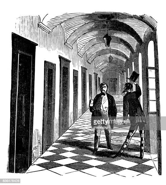 two men greeted one another in the hallway of court- 1867 - corridor stock illustrations, clip art, cartoons, & icons