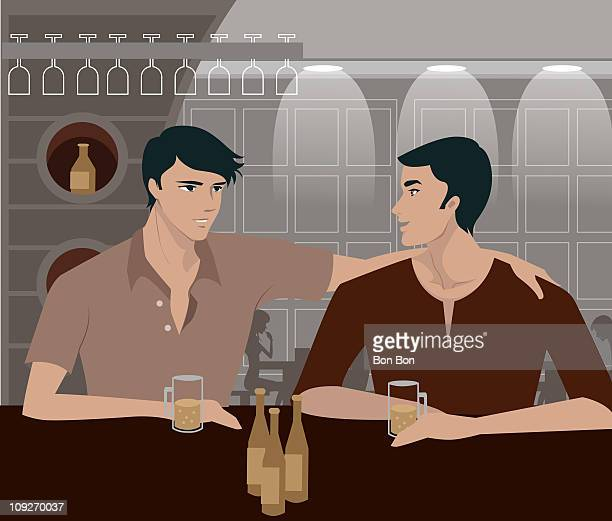two men having a drink at a bar - only men stock illustrations, clip art, cartoons, & icons