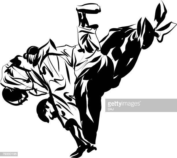 ilustrações de stock, clip art, desenhos animados e ícones de two men having a judo match, pen and ink - judo