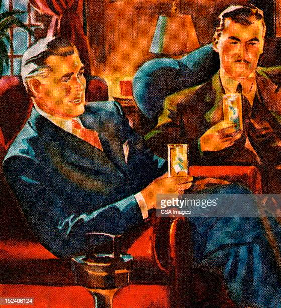 two men having drinks - scotch whiskey stock illustrations, clip art, cartoons, & icons