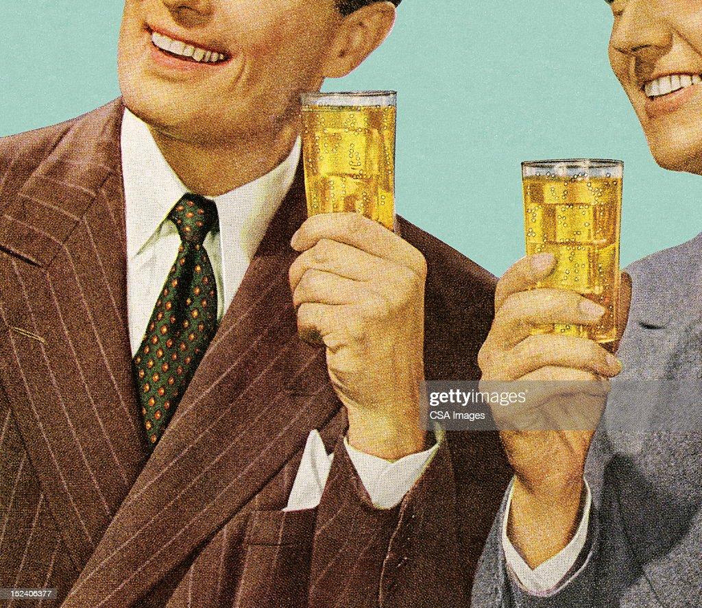 Two Men Holding Drinks : Illustrationer