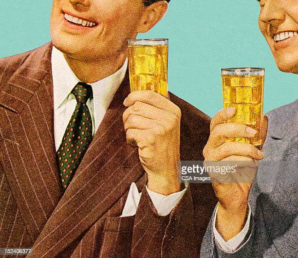 two men holding drinks - happy hour stock illustrations, clip art, cartoons, & icons