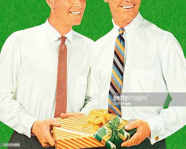 Two Men Holding Gifts
