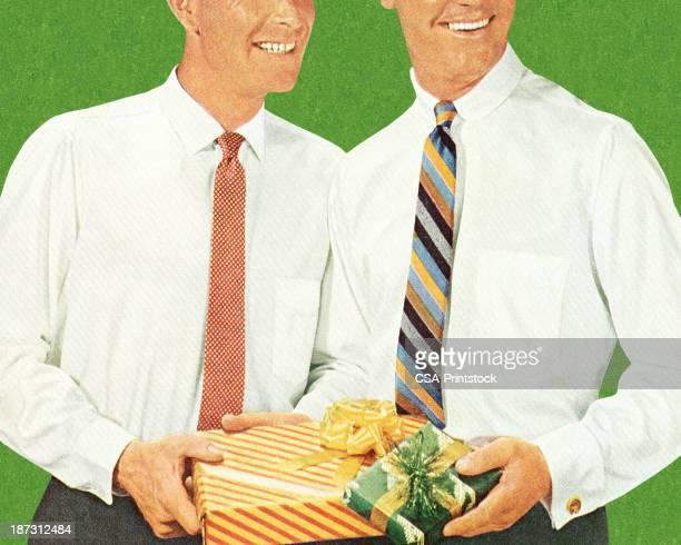 ilustrações de stock, clip art, desenhos animados e ícones de dois homens segurando os presentes - casais de lesbicas
