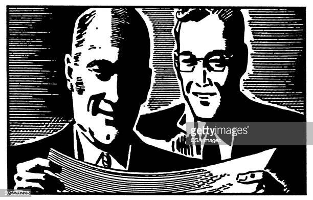 two men - report stock illustrations