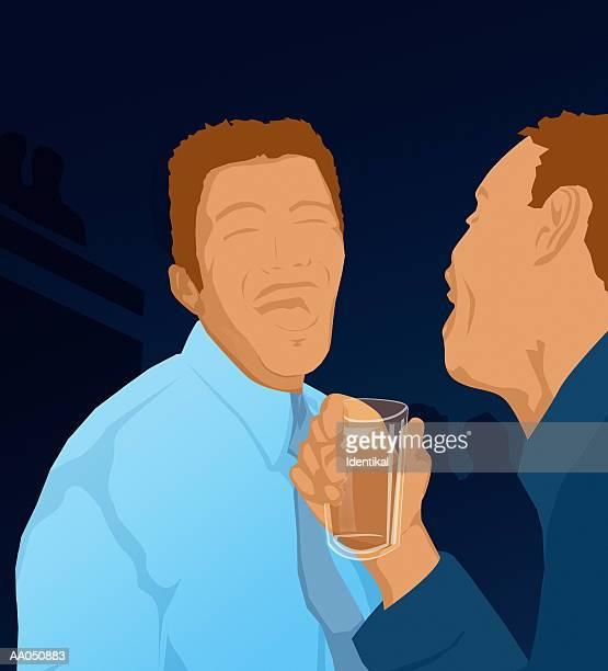 two men in bar laughing (digital illustration) - only men stock illustrations, clip art, cartoons, & icons
