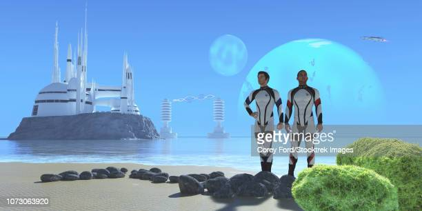 Two men in military uniforms visiting from Earth, check out a shoreline on an alien planet.