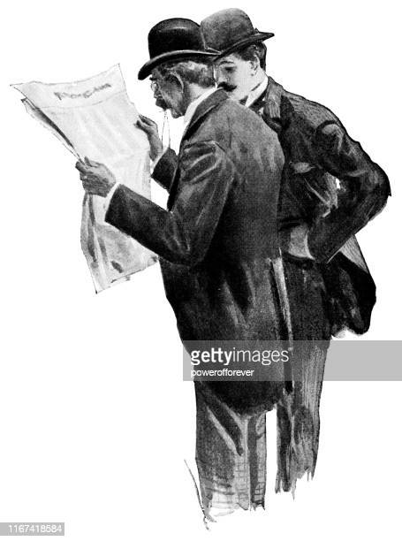 ビクトリア朝のファッションの二人の男性が新聞を読む - 19世紀 - 読む点のイラスト素材/クリップアート素材/マンガ素材/アイコン素材