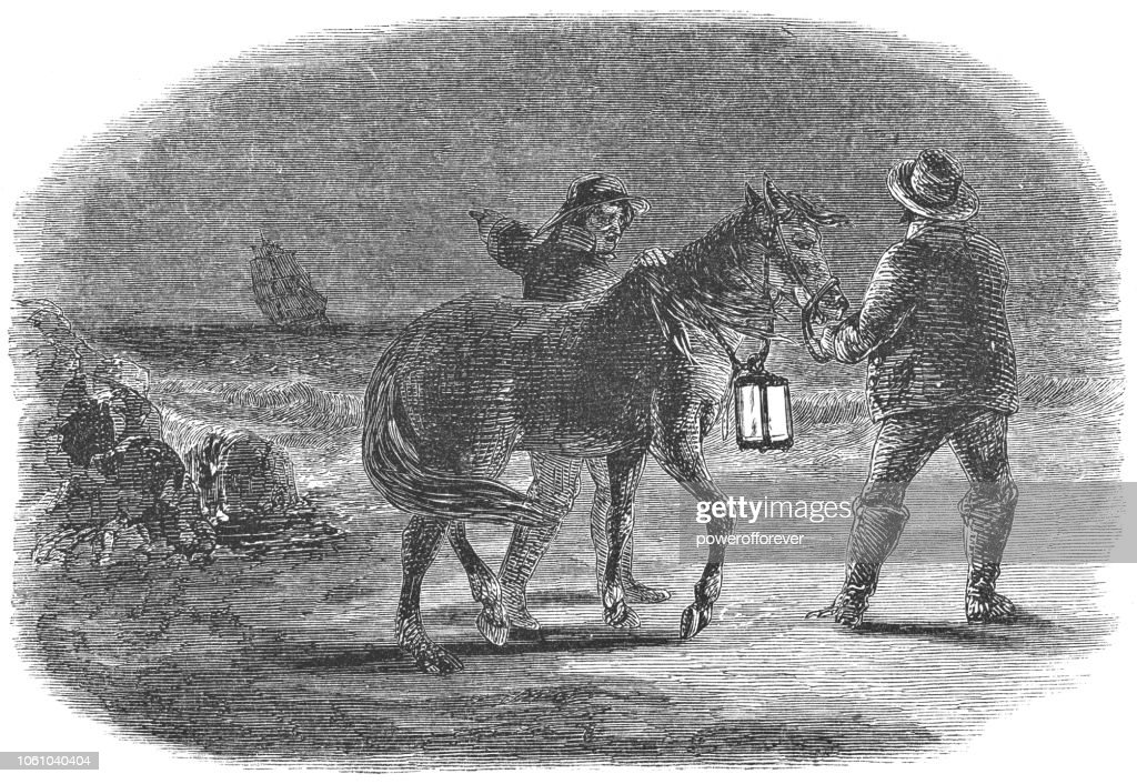 Two Men Leading a Horse at Night along the East Coast of the USA (19th Century) : stock illustration