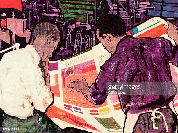 two men looking at newpaper - waist up stock illustrations