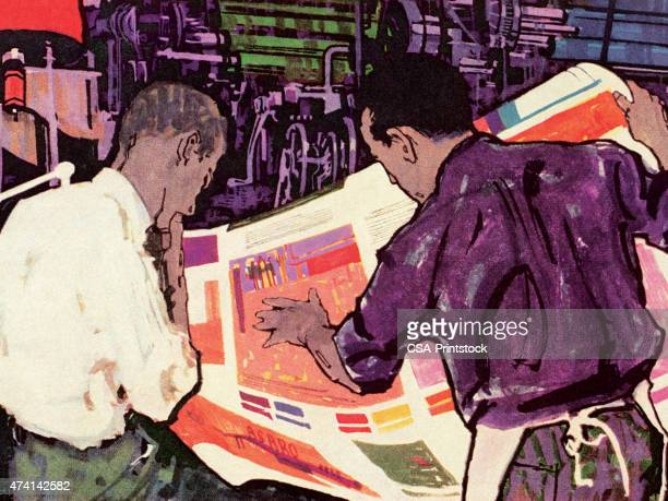 two men looking at newpaper - proofreading stock illustrations, clip art, cartoons, & icons