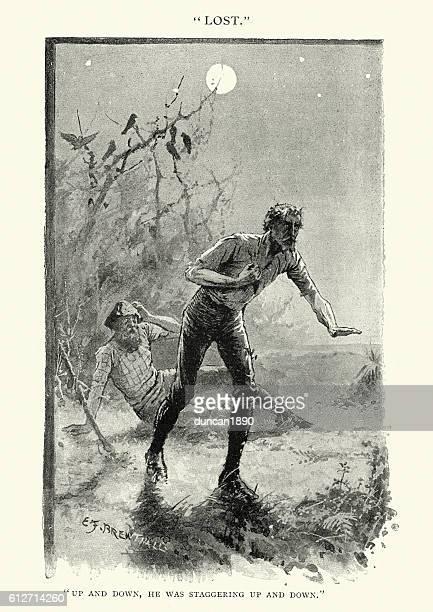two men lost in the australian bush, 19th century - dehydration stock illustrations, clip art, cartoons, & icons