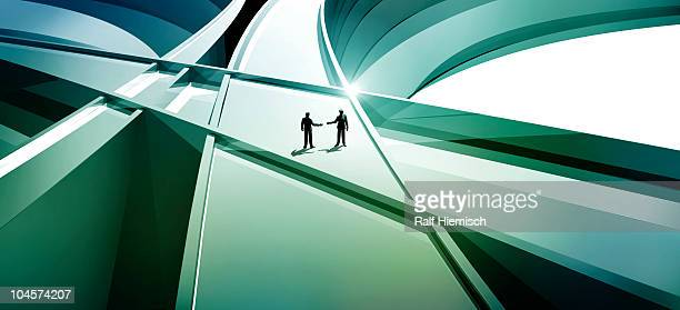 Two men on abstract three-dimensional lines