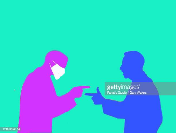 two men one wearing a surgical face mask having an argument - biohazardous substance stock illustrations