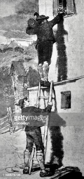 ilustrações, clipart, desenhos animados e ícones de dois homens passam a água pela janela - 1887