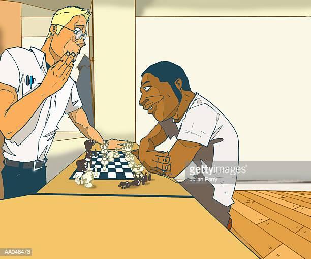 ilustraciones, imágenes clip art, dibujos animados e iconos de stock de two men playing chess - tablero de ajedrez