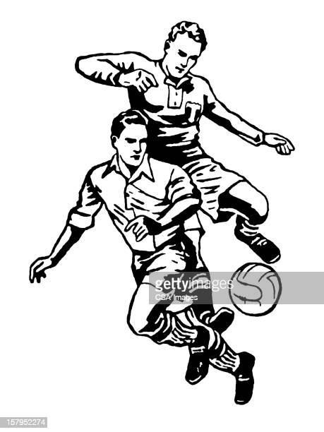 two men playing soccer - sports organization stock illustrations, clip art, cartoons, & icons