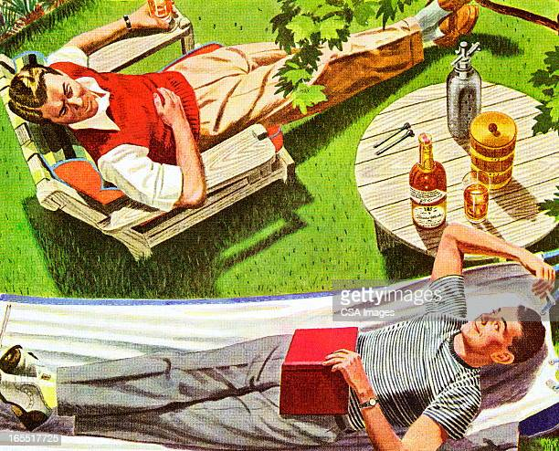 two men relaxing in the back yard - whiskey stock illustrations