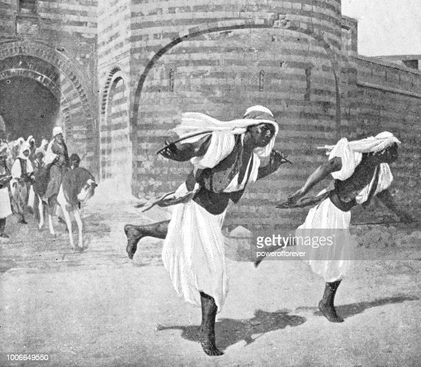Two Men Running a Race in Cairo, Egypt - Ottoman Empire