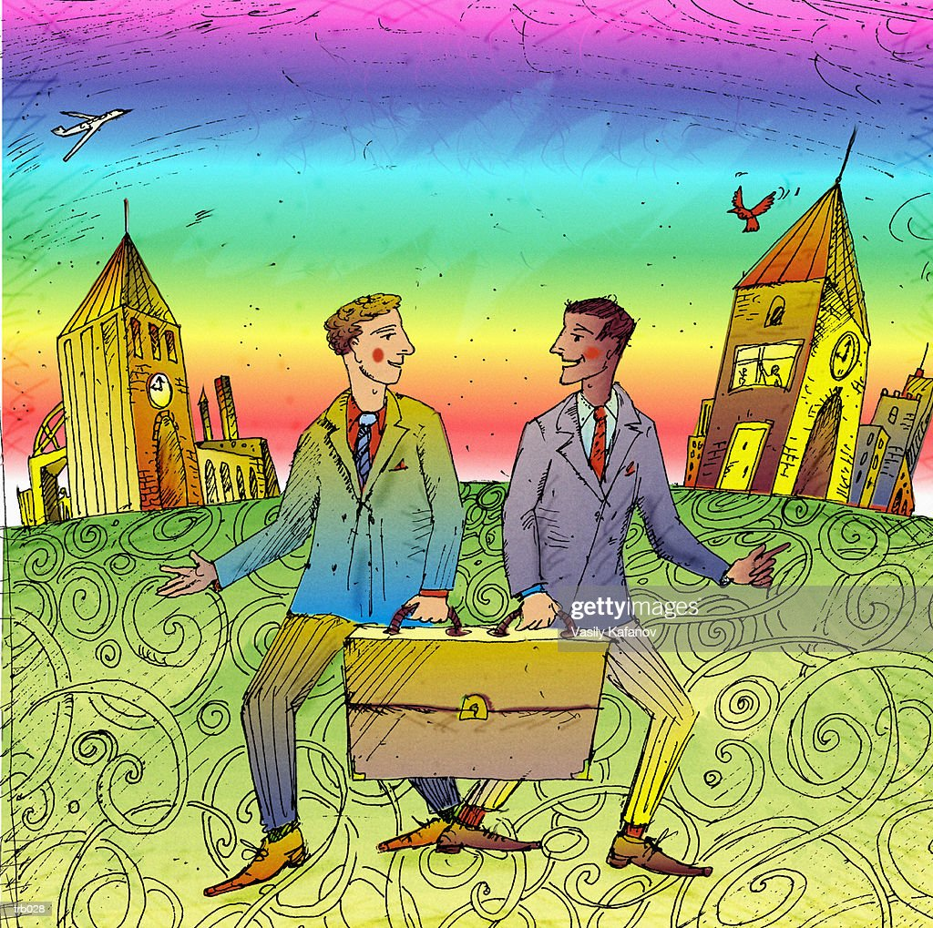 Two Men Sharing Briefcase : Stock Illustration