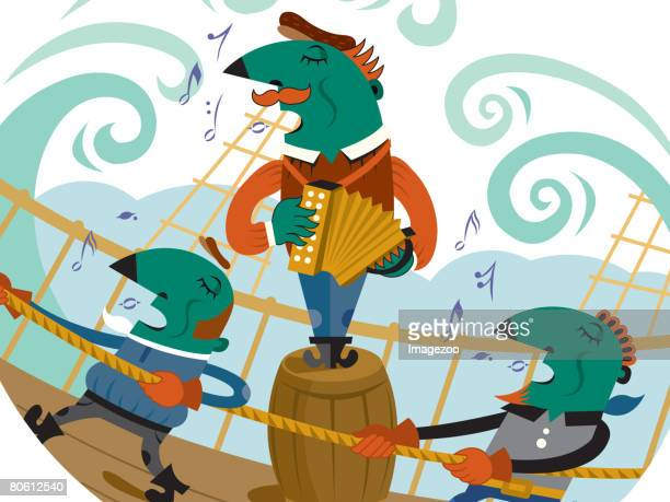 Two men singing while working on a boat and one man standing on a barrel and playing an accordian