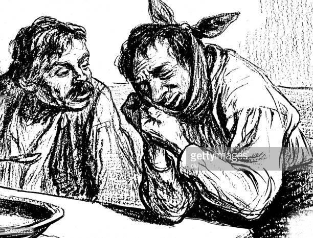 ilustraciones, imágenes clip art, dibujos animados e iconos de stock de dos hombres se sientan a la mesa, uno es consolar a la otra debido a su dolor de muelas - dolor de muelas