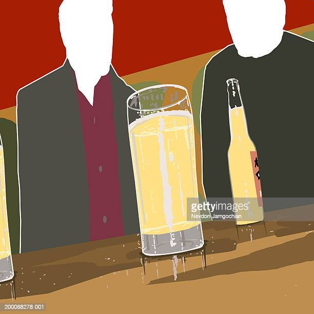 two men sitting at bar, low angle view - only men stock illustrations, clip art, cartoons, & icons