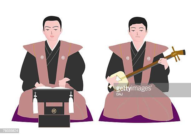 ilustrações de stock, clip art, desenhos animados e ícones de two men sitting in japanese style clothing, one playing the shamisen, front view, japan - vangen