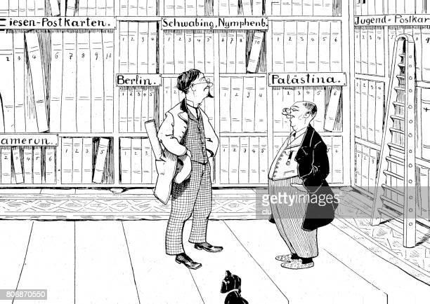 ilustrações, clipart, desenhos animados e ícones de dois homens na frente das prateleiras de uma loja de livro e mapas - livraria