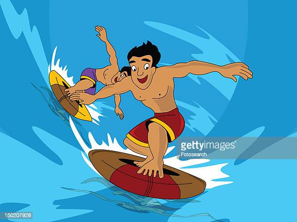 Two men surfing