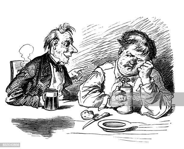 two men talking at a table in the kitchen holding a mug of beer in their hands - 1867 - only men stock illustrations, clip art, cartoons, & icons