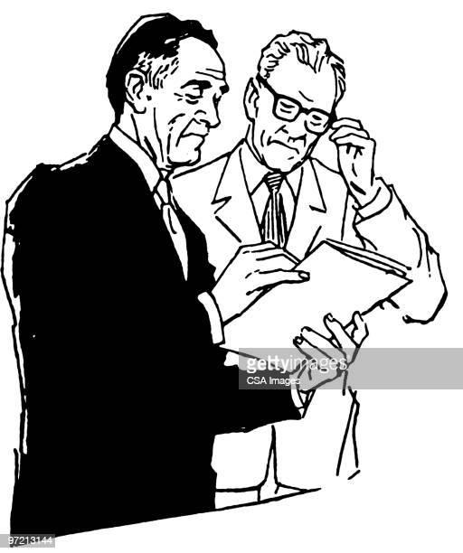 two men talking - report stock illustrations