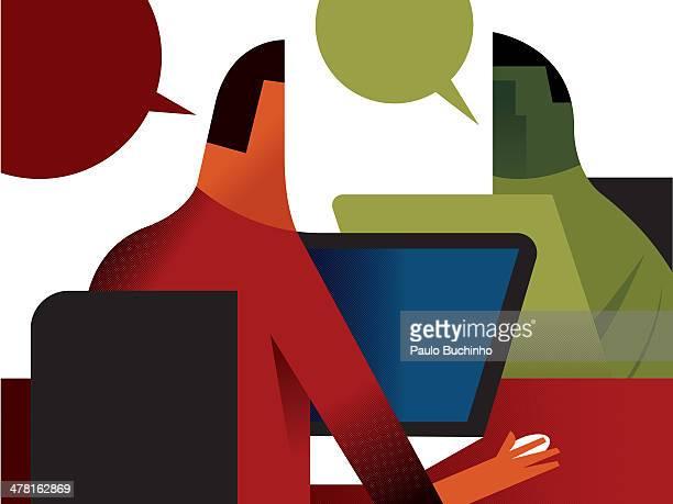 ilustrações de stock, clip art, desenhos animados e ícones de two men talking to each other while using their computers - buchinho