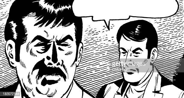 two men talking with speech balloon - agression stock illustrations, clip art, cartoons, & icons