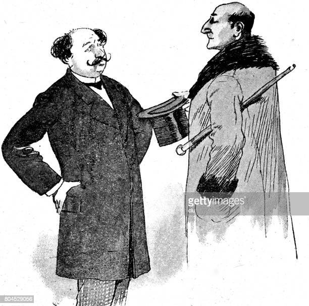 two men  waist up on white talking close to each other, side view - other stock illustrations, clip art, cartoons, & icons