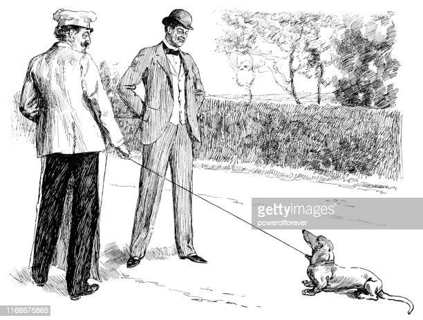 two men walking a dog in london, england - 19th century - stubborn stock illustrations, clip art, cartoons, & icons