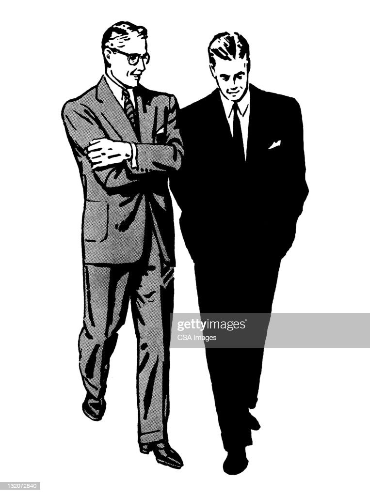 Two Men Walking and Talking : stock illustration