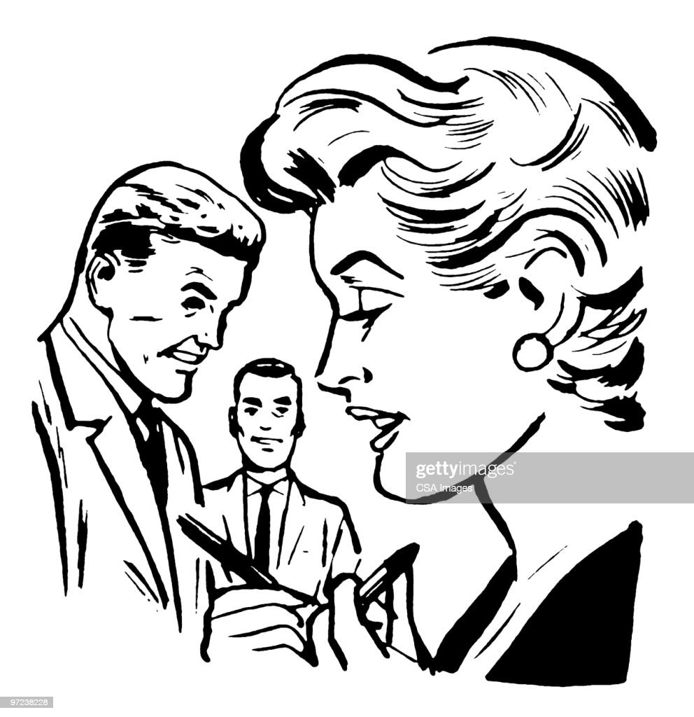 Two Men Watching One Woman : stock illustration