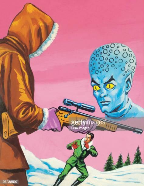 Two Men With Alien in Winter