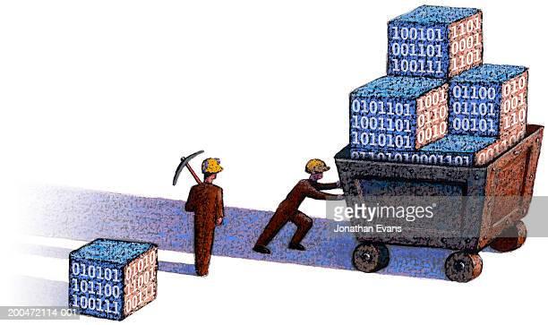 two miners transporting cubes of digits - データマイニング点のイラスト素材/クリップアート素材/マンガ素材/アイコン素材