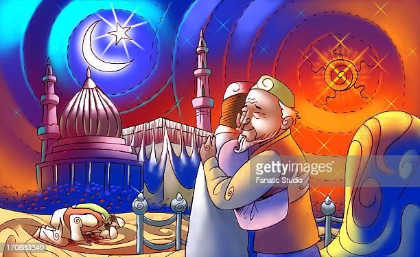 ilustraciones, imágenes clip art, dibujos animados e iconos de stock de two muslims men hugging each other at the occasion of eid ul-fitr - gracias por su atencion