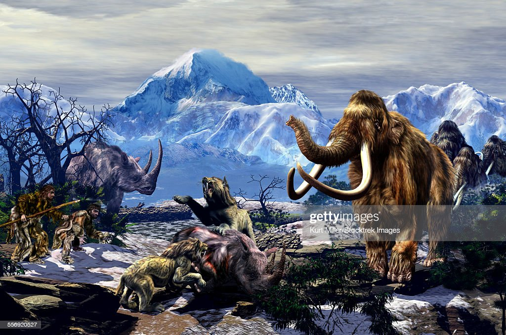 Two Neanderthals aproaching a group of Machairodontinae feeding on a Woolly Rhinoceros with a group of Woolly Mammoths on the far end. : stock illustration