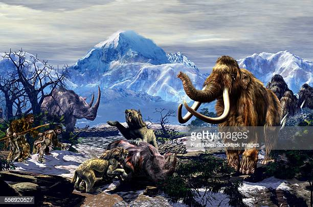 illustrazioni stock, clip art, cartoni animati e icone di tendenza di two neanderthals aproaching a group of machairodontinae feeding on a woolly rhinoceros with a group of woolly mammoths on the far end. - paleolitico
