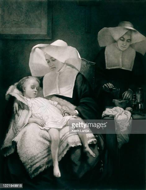 ilustraciones, imágenes clip art, dibujos animados e iconos de stock de dos monjas que cuidan a un niño enfermo - asistente de enfermera
