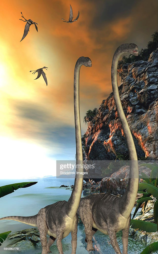 Two Omeisaurus dinosaurs walking along a steep cliff with Dorygnathus reptiles flying overhead. : stock illustration