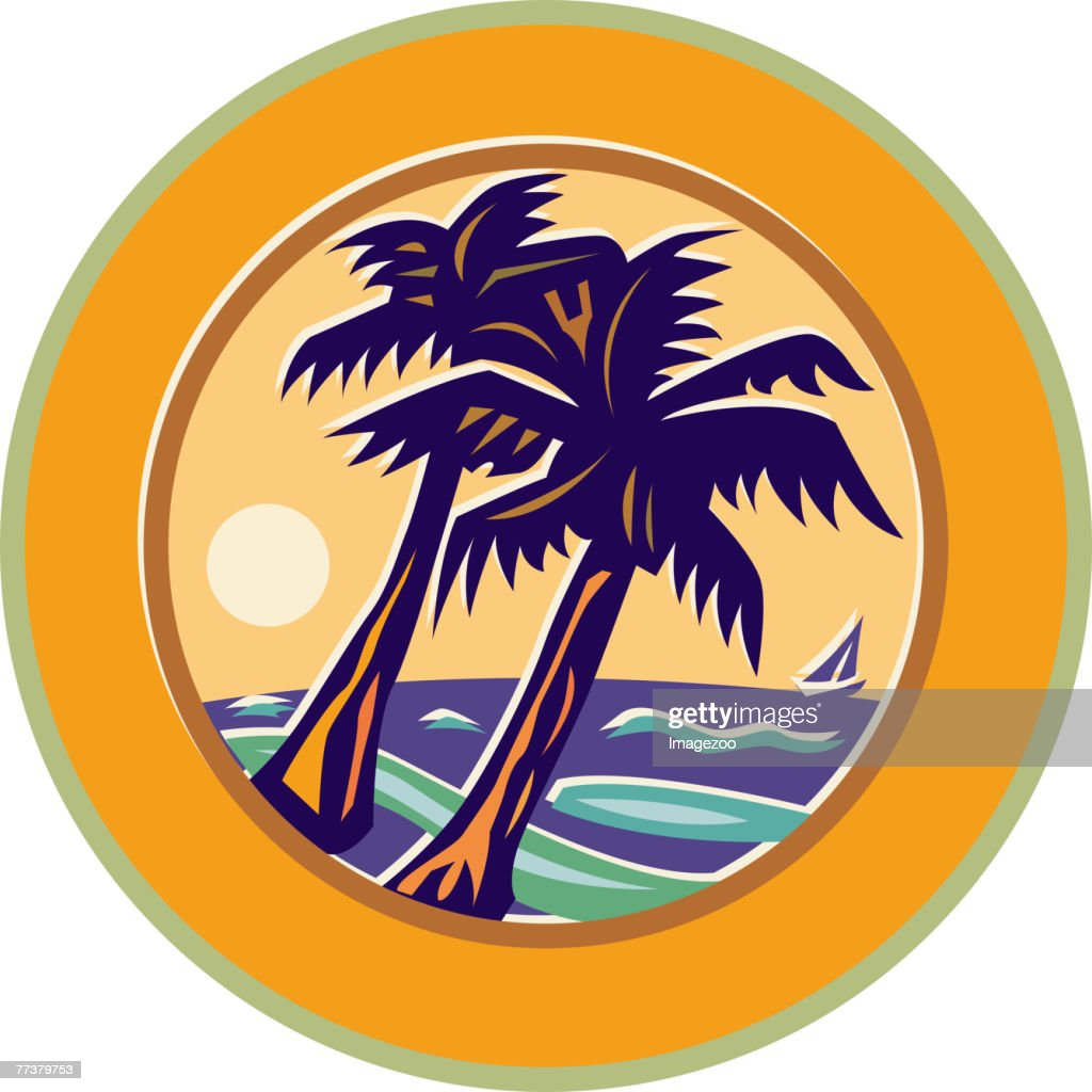 two palm trees : stock illustration
