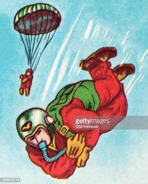 two paratroopers - paratrooper stock illustrations, clip art, cartoons, & icons